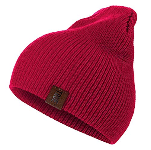 GZTCAP Beanie Sombrero 1 Uds Sombrero PU Letra verdadera Gorros Casuales para Hombres Mujeres cálido Sombrero de Invierno de Punto Moda sólido Hip-Hop Gorro Unisex