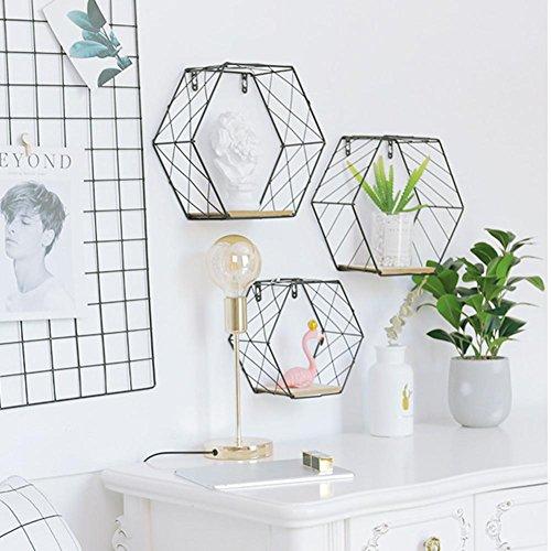 Mensole a sospensione esagonali, struttura a griglia, alla moda, da appendere alle pareti, decorative, ideali per salotti