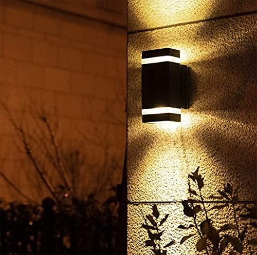 Aplique de Pared para Exteriores Impermeable Aplique de Pared para Exteriores Cuadrado Rectangular Jardín Porche Puerta Lámpara de Patio Círculo Acanalado Semi Medio Punto de Foco