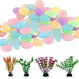 200 Piezas Piedras Luminosas Jardin 4 Acuario Plantas de Plástico, Fluorescentes Piedras Luminosas Decorativas Acuario de Resina de Madera de Decoración para Acuarios y Pecera