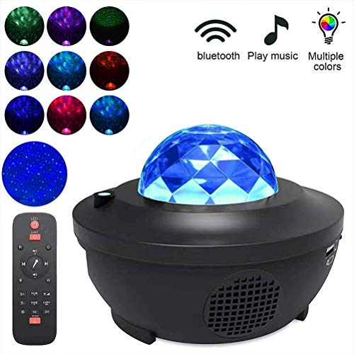 Yxp LED-Nachtlicht Musik-Stern-Projektor-Lichter Für Kinder Sternenhimmel Projector Bluetooth-Lautsprecher Mit Fernbedienung Und Timer,Schwarz
