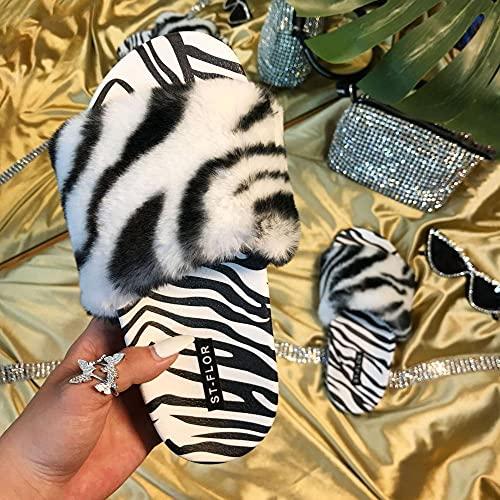 Ririhong Nuevas Zapatillas de Verano Moda Zapatillas peludas con Estampado de Leopardo en Blanco y Negro para Que Las Mujeres usen Zapatillas perezosas en Invierno-Black_40