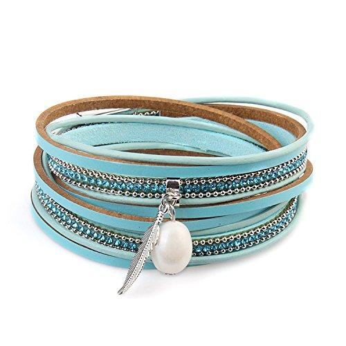 Yntmerry Europa e America caldo gioielli moda estate selvaggio due cerchio multi-strato pelle perla braccialetto ragazza regalo e Lega, colore: Blu