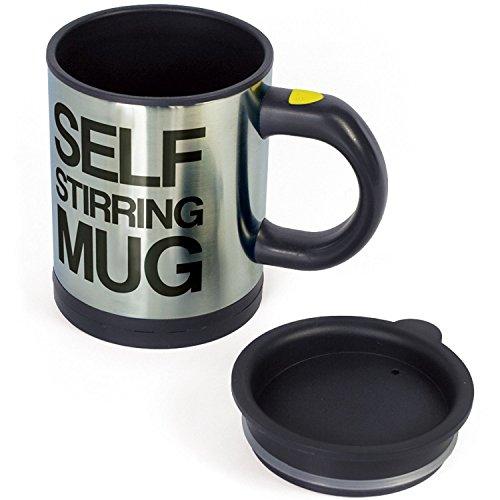 CrazyAboutGadgets Self Stirring Mug - Tazas de Desayuno Auto-removible, 14 x 11 x 8.5 cm, color Negro y Plateado