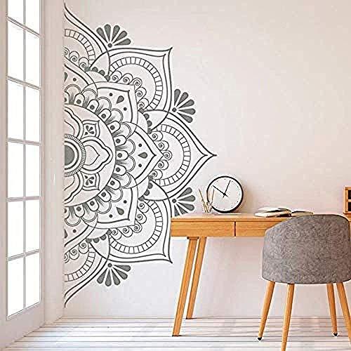Mandala En Media Pegatina De Pared Decoración Para El Hogar Pegatina De Vinilo Extraíble Para Meditación Yoga Arte De La Pared Sala De Estar Dormitorio Mural 113X57Cm