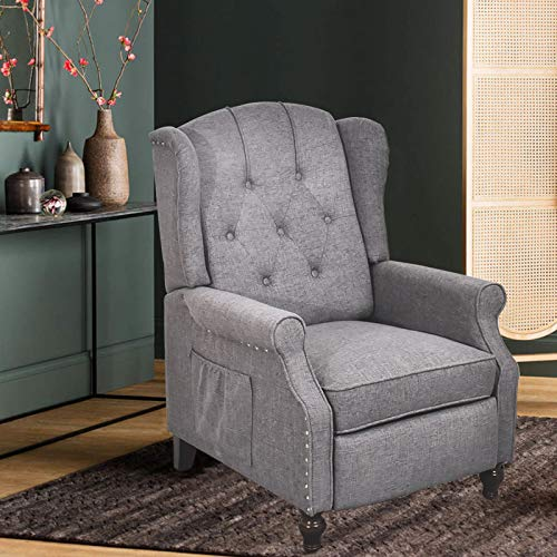 Wingback Push Back Recliner Fabric Recliner with Massage and Heating, Padded Cushions, Nailhead Trim and Wooden Legs Accent Upholstered Reclineing Armchair for Living Room, Bedroom, Home (Gray)