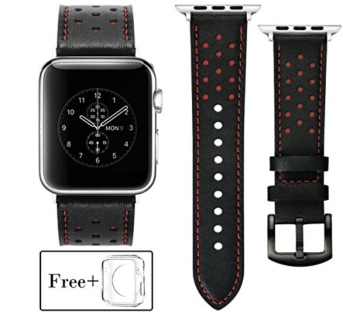 SEVENPICKS Nero con Fori Rossi Design per Apple Watch Cinturino 38mm 42mm Soft Leather Cinghia di Ricambio con Acciaio Inox Classic Buckle per iwatch Series3 / 2/1 Nike + Sport Edition (B-R-42mm)