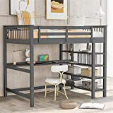 Full Size Loft Bed, Loft Bed with Desk and Storage Shelves, Rubber Wooden Loft Bed Full, No Box Spring Needed (Full,Gray)