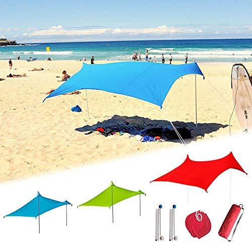 Chalkalon Parasol De Plage Anti Vent - 210 Cm X 210 Cm Tente De Plage Anti UV Famille - UPF50+ Protection Etanche Plage De Tente avec Sac De Sable Ancres