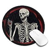 PEIGJH Redondo Alfombrilla Raton Gaming Esqueleto Vino Tinto O Muerte con Base de Goma Antideslizante para Gamers, PC y Portátil