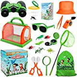 GINMIC Outdoor Explorer Kit & Bug Catcher Kit for Kids Camping with Drawstring Bag, Binoculars, Bug Kit, Magnifying Glass, Sunglasses, Hat, Butterfly Net, Adventure Toy for 3-12 Years Old Boys & Girls