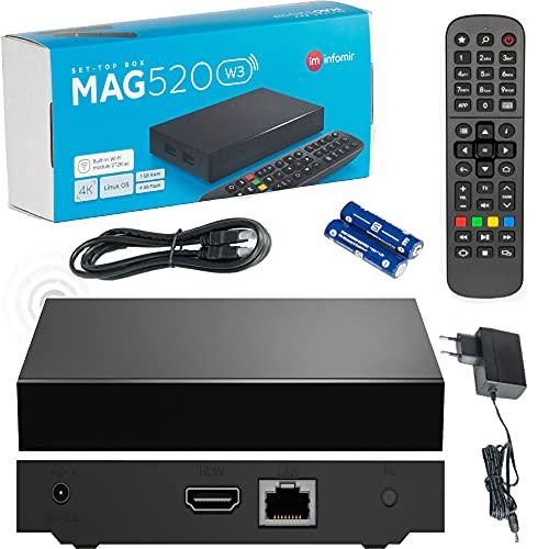 INFOMIR Original MAG520w3 Wİ-Fİ / 4K UHD IPTV Box / Internet TV / 2160p 60 FPS Reproductor Multimedia IPTV Receptor Set Top Box / Apoyo HEVC H.256 / Quad Core Arm Cortex-A53 / + Cable HDMI