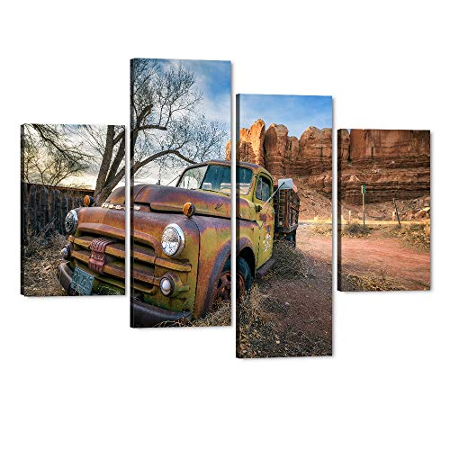4 Piece Old Truck Canvas Wall Art Classic Rusty Cars Parked Near Rocks Oil Painting Modern Home Decor Wooden Stretched Framed Posters Gallery Canvas Artwork Ready to Hang-48''Wx36''H