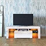 DMAITH TV Stand with LED Lights, 1 Drawer and Open Shelves High Gloss Entertainment Center Media Console Table Storage Desk for Up to 60 Inch TV, White (002W)