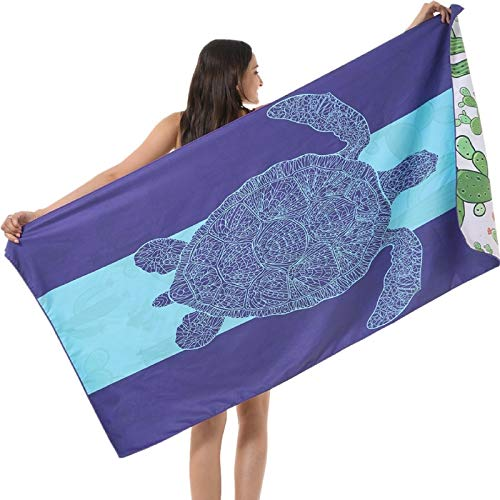 Microfiber Sand Free Beach Towel-Turtle Quick Dry Super Absorbent Lightweight Oversized Large Bathing Towels Blanket for Travel Pool Swimming Girl Women Men Geometric Triangle