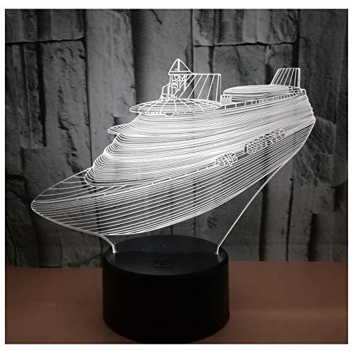 Sanzangtang Led-nachtlampje, 3D-vision-sept, kleur afstandsbediening, jacht boot nachtlampje met licht voor de decoratie van het huis, aanstekers, visuele illusie, ongelooflijk