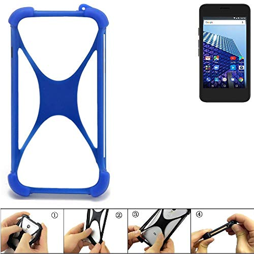 K-S-Trade® Handyhülle Für Archos Access 45 4G Silikon Schutz Hülle Cover Case Bumper Silikoncase TPU Softcase Schutzhülle Smartphone Stoßschutz, Blau (1x),