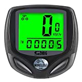 COOLWHEEL 16 Functions Wireless Bike Computer, Bicycle Speedometer Odometer with Clock Stopwatch, Waterproof LCD Display Cyclocomputer, Cycling Computer with Backlight