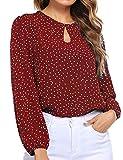 Beyove – Blusa de manga larga para mujer, cuello con linterna, lunares y gasa rojo M