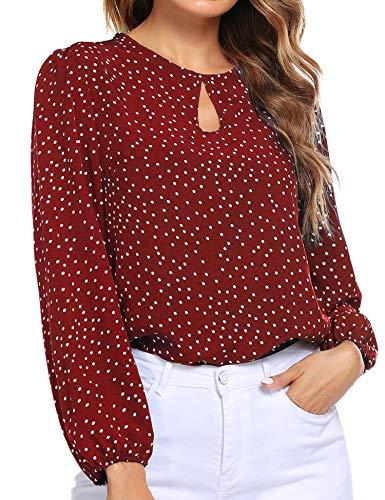 Beyove – Camicia da donna a maniche lunghe con collo e lanterna a pois in chiffon, elegante Colore: rosso M