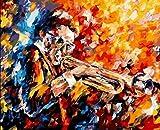 GenericBrands DIY Pintura al óleo de Lienzo Música de trombón - Pintura por Números La Pintura al óleo artística de Bricolaje sobre Lienzo es un Regalo de Creatividad - 40 x 50 CM (Sin Marco)