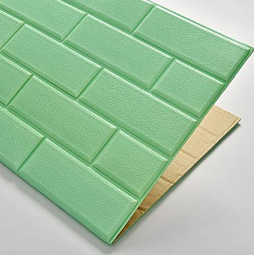 JXBoos 3D Selbstklebend Wandpaneele, Backstein-Muster 3D wandsticker Dekorative tapeten Wasserdicht Anti-kollision 3D schaumfolie-Grün 70x77cm(28x30inch)