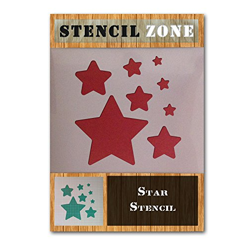 Forma de Estrella Estrella Mylar aerógrafo pintura mural de arte plantilla de tres (A6 Tamaño de la plantilla - XXSmall)