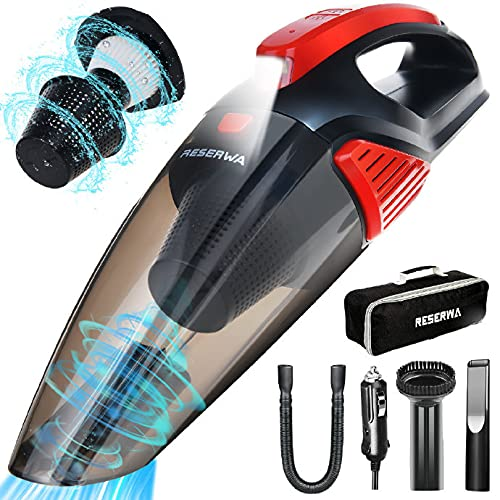 Two-Layer Filter Car Vacuum Cleaner with LED Light 7500PA 12V 16.4FT Cable Portable Handheld Car Vacuum Cleaner Wet and Dry Use Auto Vacuum Cleaner