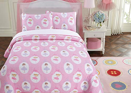 Cozy Line Home Fashions Ballerina Dance Princess Bedding Quilt Set, Pink Orchid Light Purple 100% Cotton Bedspread for Kids Girl (Pink Print, Queen - 3 Piece)