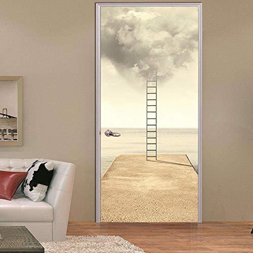Bdhnmx 3D deur wandafbeeldingen schillen en stok ladder hemel voor gang houten deuren sticker zelfklevend behang verwijderbare poster 77x200cm