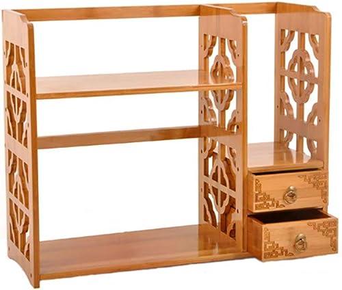 para barato YGXR Librerias de Madera para Libros, Librería Librería Librería con cajones Estante de Almacenamiento de Escritorio de bambú de 50 x 25 x 50cm para estantería de Escritorio para el hogar y la Oficina  tienda de venta