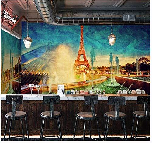 Papel Pintado 3D Francia Torre Eiffel Bar Fondo Pared-200Cmx140Cm