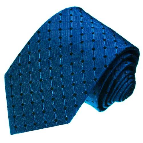 Lorenzo Cana - Luxus Krawatte aus 100% Seide - Seidenkrawatte blau schwarz mittelblau kariert Punkte - 77013