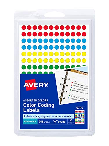 Avery Removable Color Coding Labels, 0.25 Inches, Assorted, Round, Pack of 768 (5795)