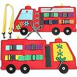 ZaxiDeel Activity Busy Board, Motorikbrett Montessori Spielzeug für Kleinkinder ab 3 Jahre, Frühpädagogisch und Sensorisch Unterricht zur Lebenskompetenzen Lernspielzeug im Feuerwehrauto Form