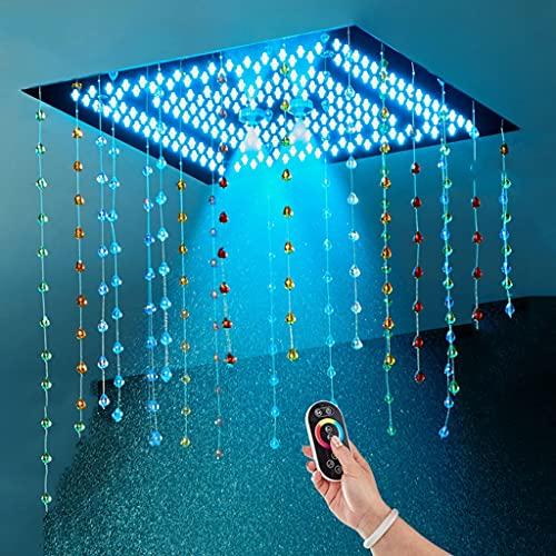 GYL Techo Empotrado Cabezal de Ducha con luz LED, Ion Negativo Ducha de Lluvia, Cambio de Colores Control de Temperatura Cabezal de Control Remoto 16 Pulgadas Cuadrado Cabezal de Ducha Superior