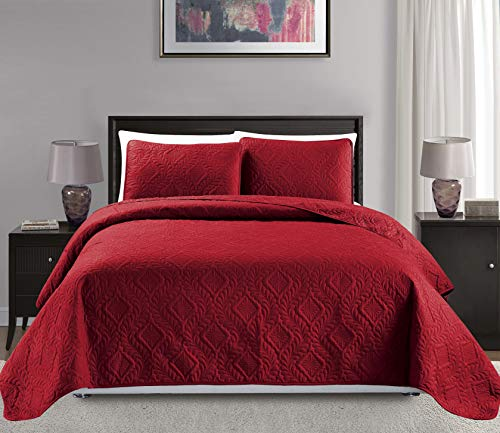 """Mk Collection King/California King Over Size 118""""x106"""" 3 pc Diamond Bedspread Bed-Cover Embossed Solid Red New"""