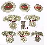 32piezas de corte con diamante de Dremel Rotary. Minihojas en forma de disco para sierra. 16/20/22/25/30/40/50/60mm. Herramientas para piedras preciosas, cristal o piedra (incluye 4 ejes de torno)