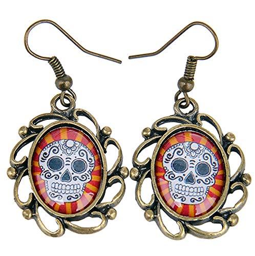 Unbekannt Damen Ohrhänger Sugar Skull Totenkopf Gothic Kamee Ohrringe Breite 2cm, Höhe 2, 5cm