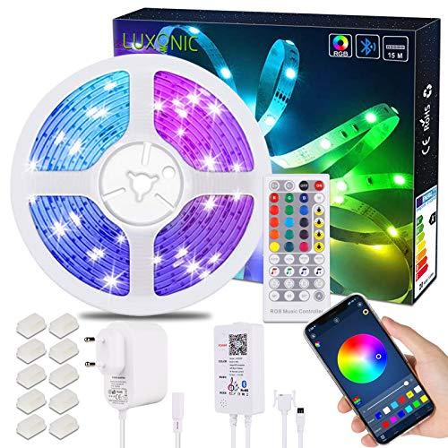 LED Streifen Bluetooth, LUXONIC 15M / 49.2ft RGB LED Leiste Band mit APP Steuerung, 40-Tasten IR Fernbedienung, Bluetooth Kontroller, Sync mit Musik Farbwechsel LED Strip Licht für Zuhause Dekoration