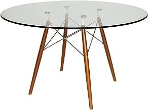 Replica Eames DSW Eiffel Round Dining Table | Glass | 120cm - Walnut