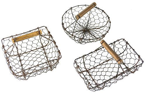 All-Purpose Display Baskets in 3 Shapes, Gray Metal Wire with Wood Handle, Rectangle- 5 Inches, Square- 6.75 Inches and Circle- 7.5 Inches