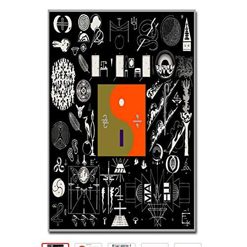 Suuyar Pop Rock Musik Abstrakte Album Hot Art Poster Bon Iver 22 Eine Million Leinwand Wohnkultur Bild Wand Print-50x70 cm Kein Rahmen