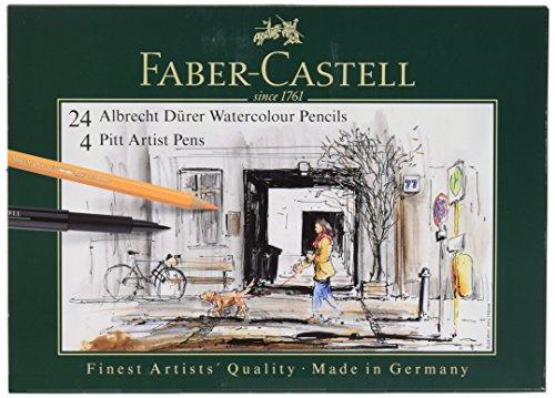 Faber-Castell 217504 - Pack de 24 lápices de colores acuarelables y 4 rotuladores, multicolor
