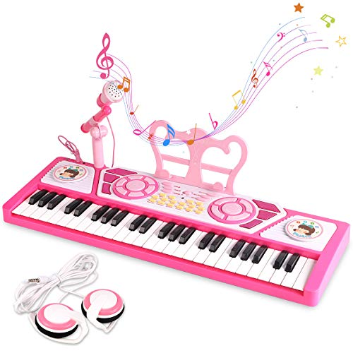 BAOLI 49 Keys Kids Keyboard Piano Toy with Microphone for BeginnersMultifunctional Musical Instruments for Toddlers Electronic Learning Keyboard Toy Piano Gifts for 1 2 3 4 5 6 7 Year Old Girls Boys