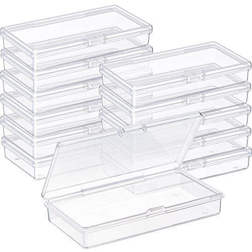 SATINIOR Boîte de Stockage de Perles en Plastique Transparent avec Couvercle à Charnière pour Perles et Plus (4.8 x 2.45 x 0.9 Pouces)