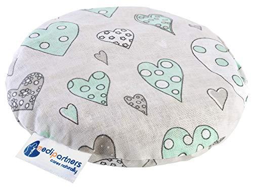 Kirschkernkissen Wärmekissen Körnerkissen für Babys 180g rund 15cm Öko Natur 100% Baumwolle Medi Partners Wärme + Kältetherapie Massagetherapie (minze Herze)