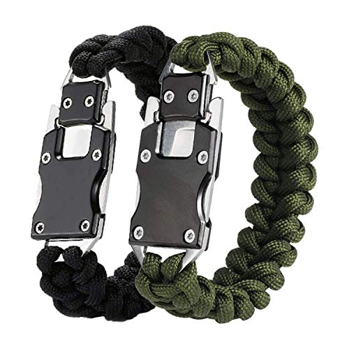 LIUDOU Pulsera Táctica Survival Cable Pulseras, Emergencia De Engranaje De Supervivencia Multitool para Senderismo Que Viene Camping, Hombres Y Mujeres