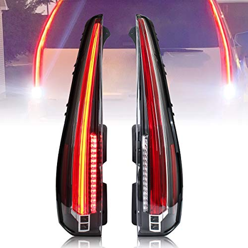VLAND LED Tail lights Compatible with Cadillac Escalade 2007-2014 (Not fit GMC) Rear Lamp Assembly with Red Turn Signal, Red Clear Lens YAB-KLD-0156C