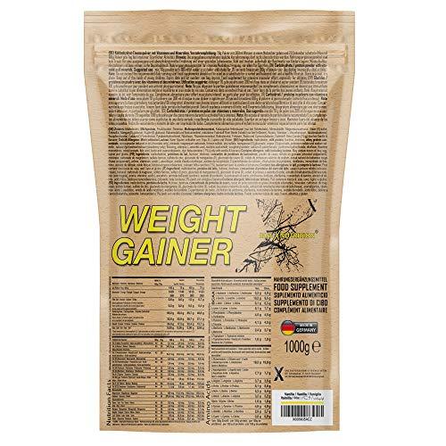 baseXnutrition, WEIGHT GAINER, die optimale Kohlenhydrate und Protein Basis für schnellen Gewicht- u. Muskelaufbau, 1000g Beutel Schoko